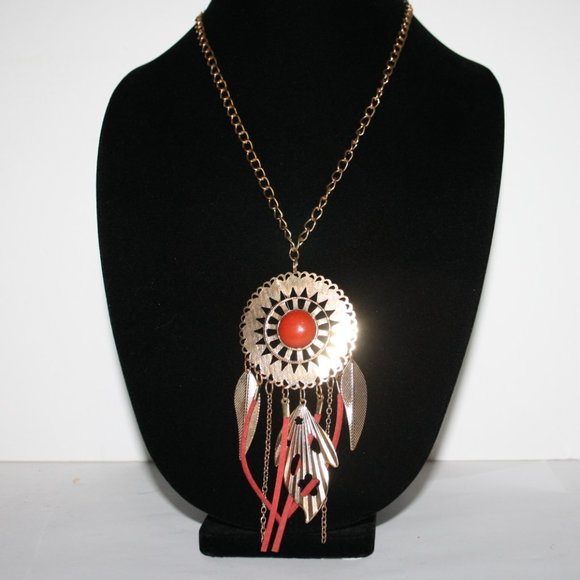 """Boho style red and gold necklace 30"""""""